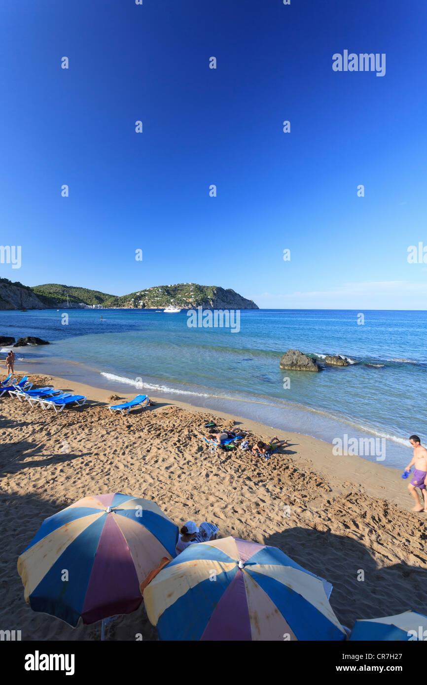 Spain, Balearic Islands, Ibiza, Aigues Blanques beach - Stock Image