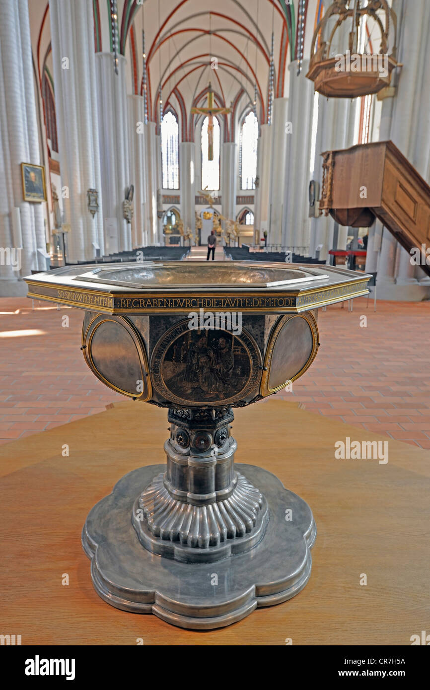 Baptismal font in the newly renovated Nikolaikirche church, Berlin, Germany, Europe - Stock Image