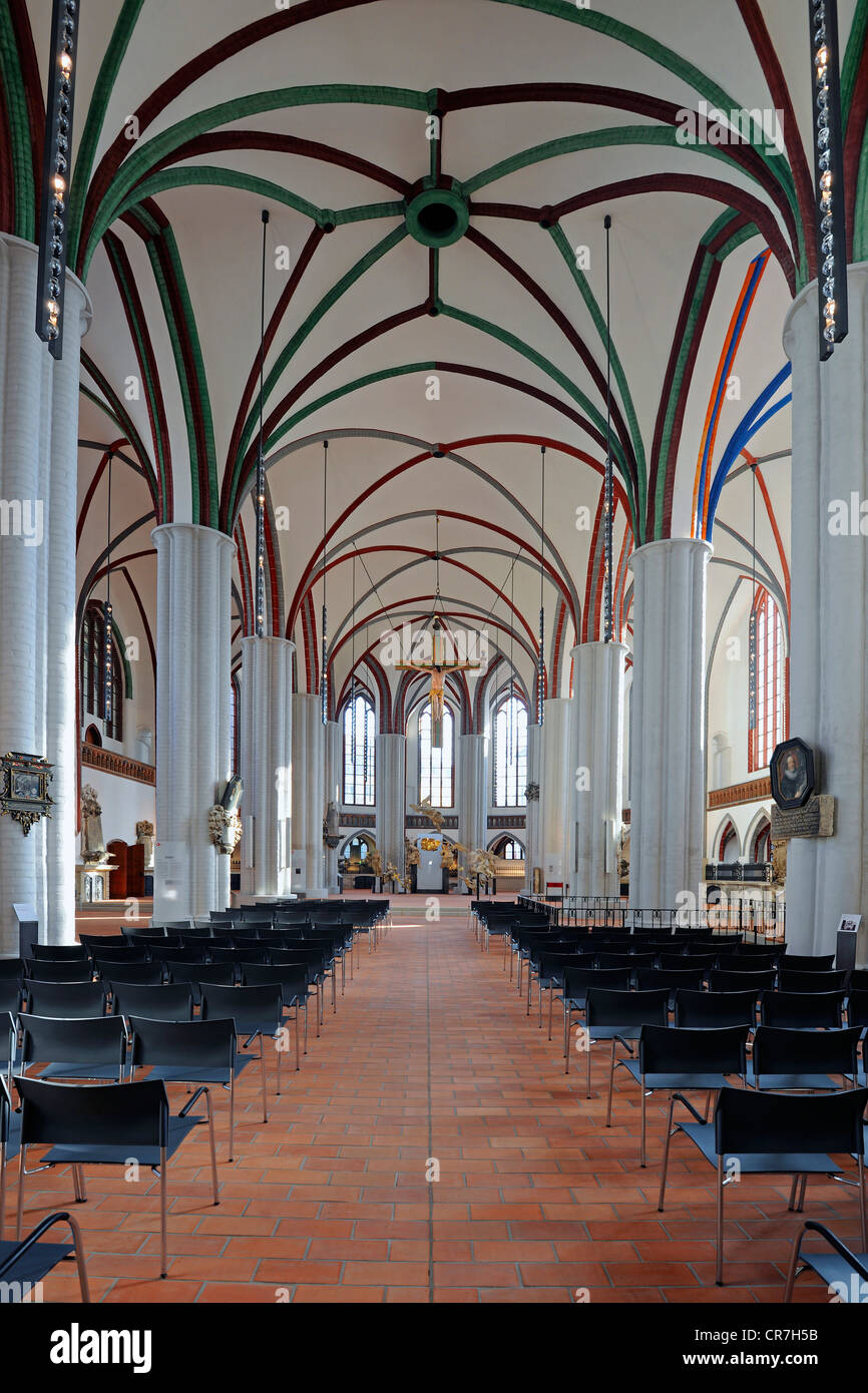 Nave of the newly renovated Nikolaikirche church, Berlin, Germany, Europe - Stock Image