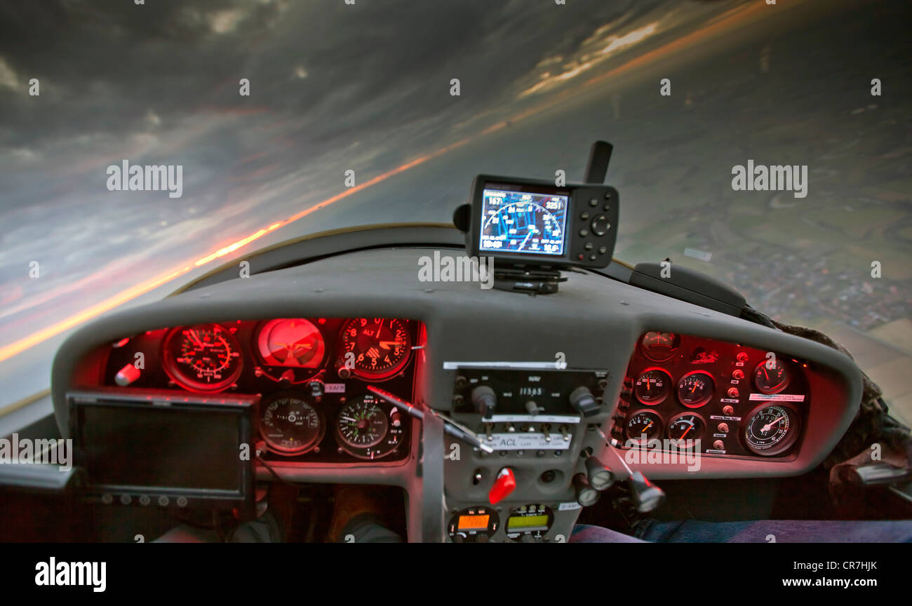 Aerial view, cockpit of a touring motorglider, bank, Hamm, Ruhr area, North Rhine-Westphalia, Germany, Europe - Stock Image