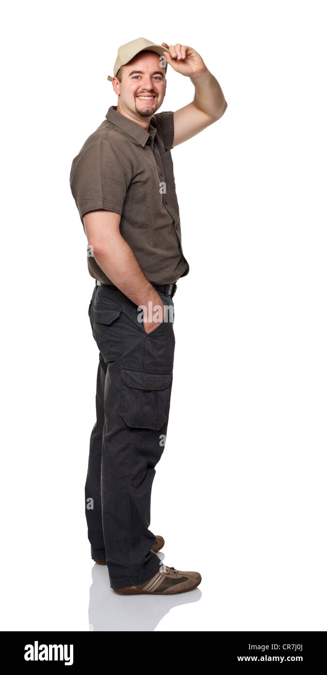 portrait of young man isolated on white background - Stock Image