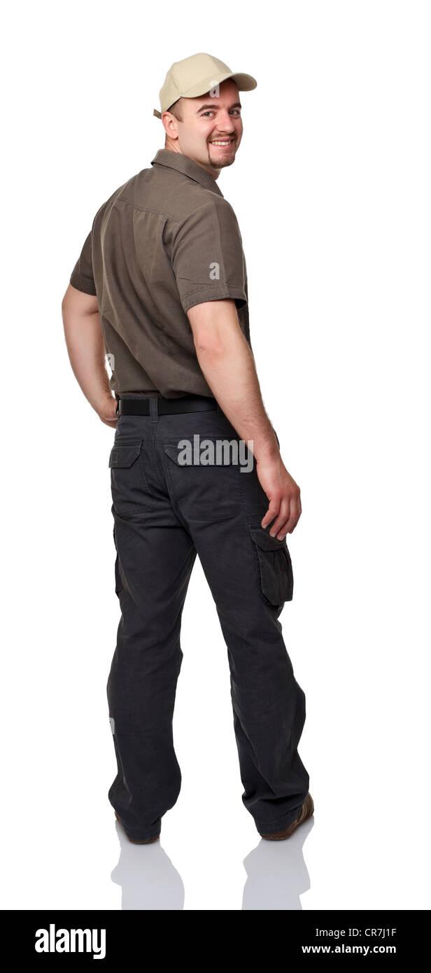 friendly man isolated on white background - Stock Image