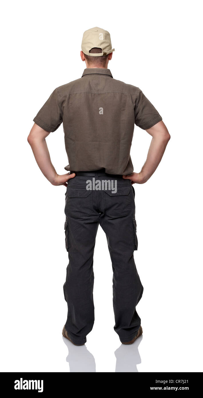 man back view on white background - Stock Image