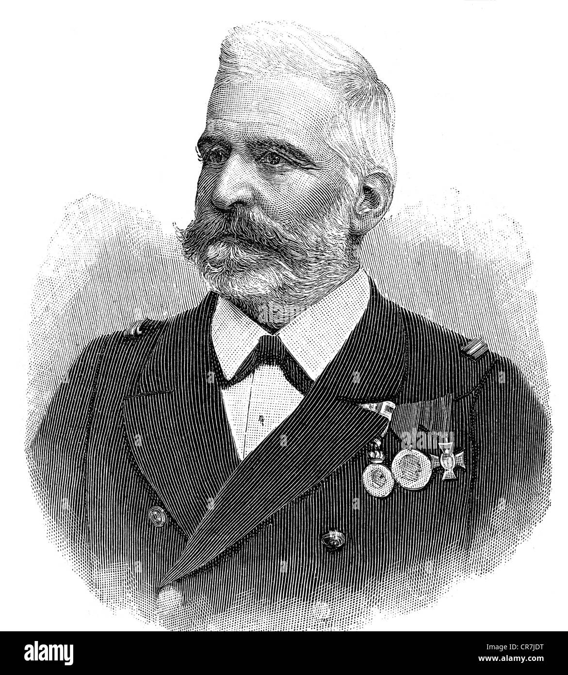 Montecuccoli, Rudolf count of, 22.2.1843 - 16.5.1922, Austro-Hungarian admiral, portrait, wood engraving, 1897, - Stock Image