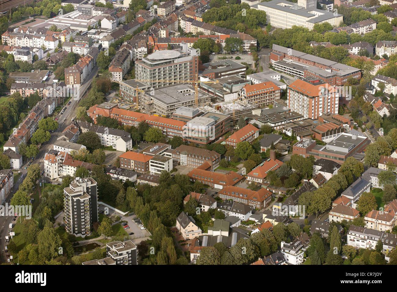 Aerial view, Berufsgenossenschaftliches Universitaetsklinikum Bergmannsheil teaching hospital, Bergmannsheil hospital, - Stock Image