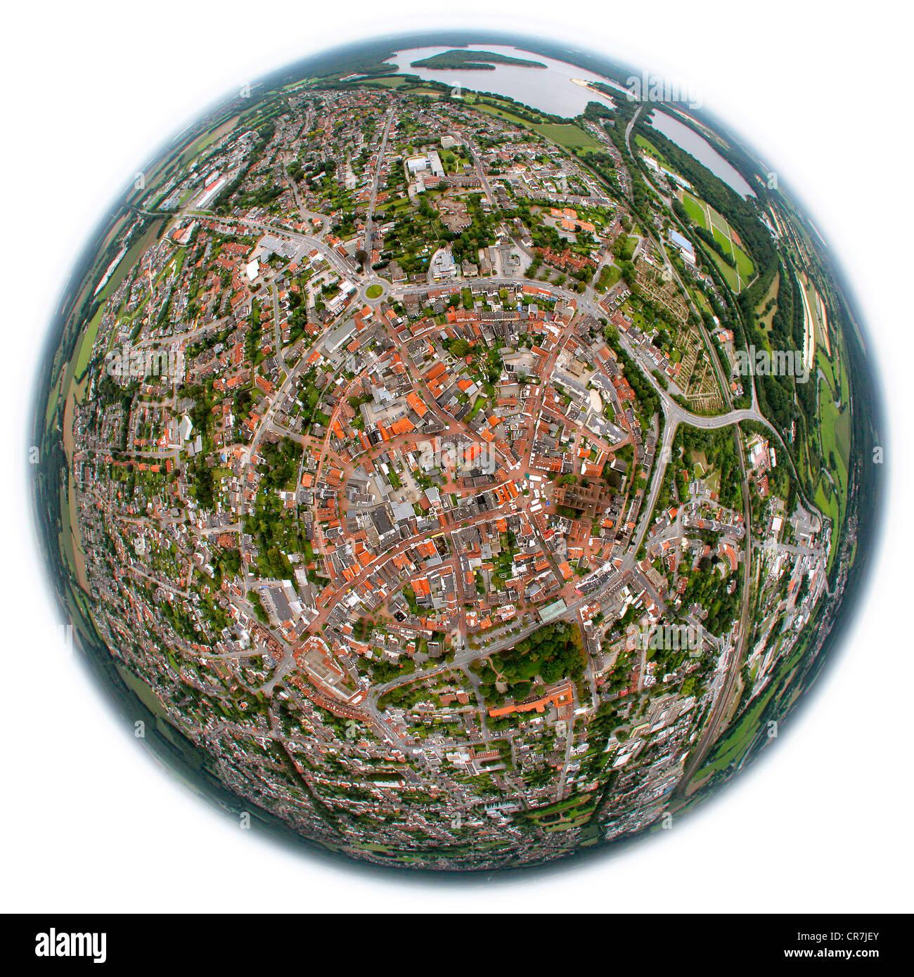 Aerial view, fisheye shot, Haltern am See, Ruhr Area, North Rhine-Westphalia, Germany, Europe - Stock Image