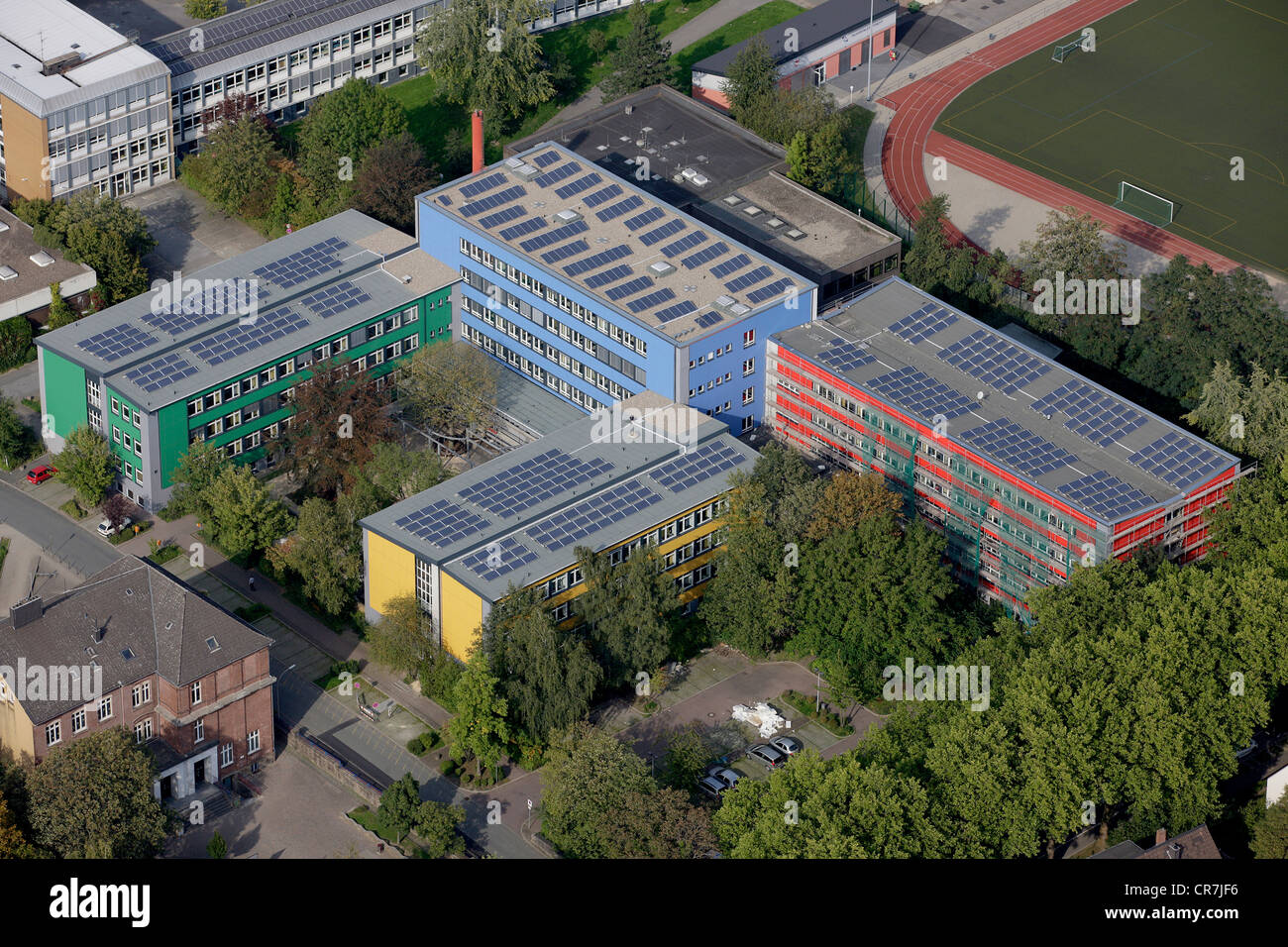 Aerial view, solar panels on roofs, vocational schools in Husemannstrasse, Witten, Ruhr Area, North Rhine-Westphalia Stock Photo