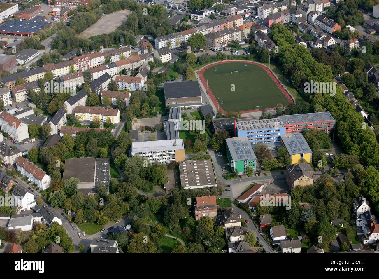 Aerial view, solar panels on roofs, vocational schools in Husemannstrasse, Witten, Ruhr Area, North Rhine-Westphalia - Stock Image