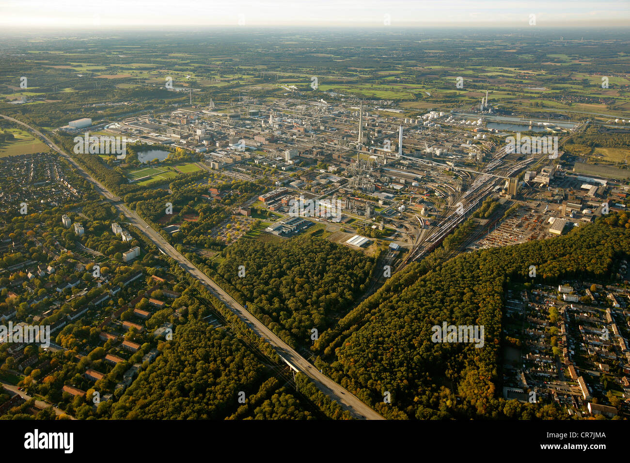 Aerial view, Degussa, chemical works Huels, Marl-Hamm chemical park, Marl, Ruhr Area, North Rhine-Westphalia, Germany, - Stock Image
