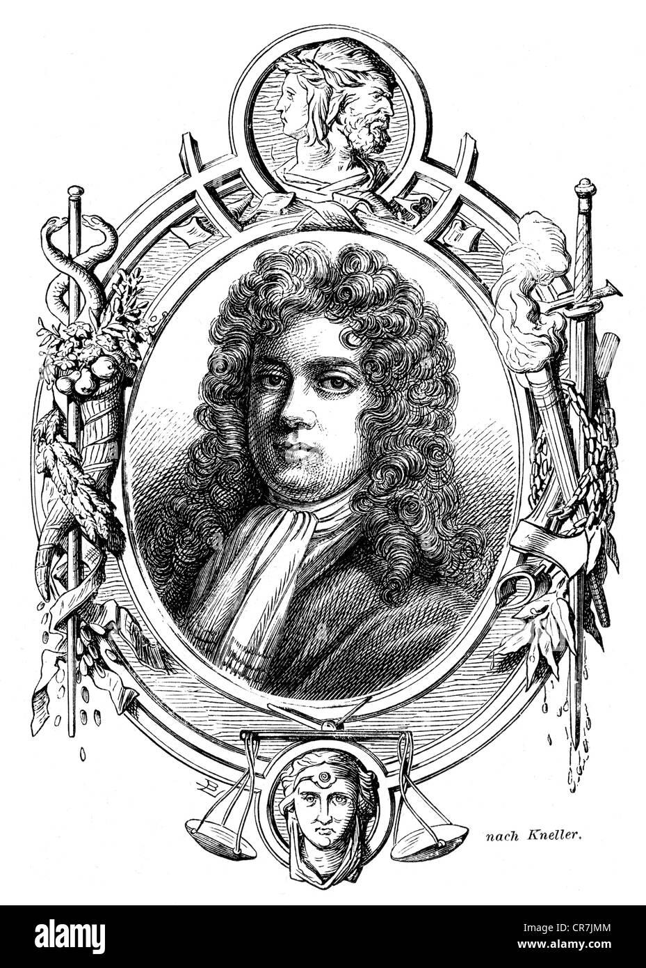 Montagu, Charles, 1st Duke of Manchester, 1656 - 20.1.1722, English politician, portrait, wood engraving, 19th century, - Stock Image