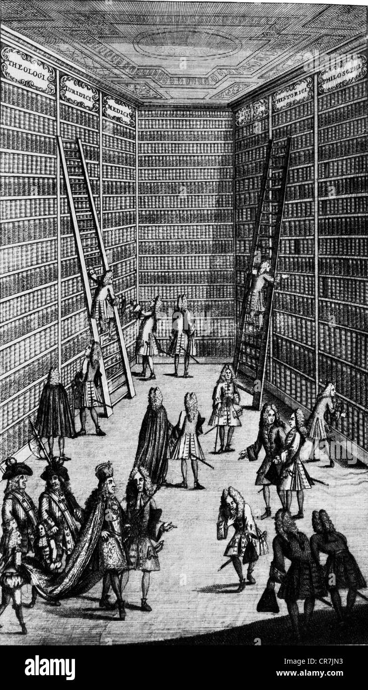 Joseph I, 26.7.1678 - 17.4.1711, Holy Roman Emperor 5.5.1705 - 17.4.1711, visting a library, copper engraving, early Stock Photo