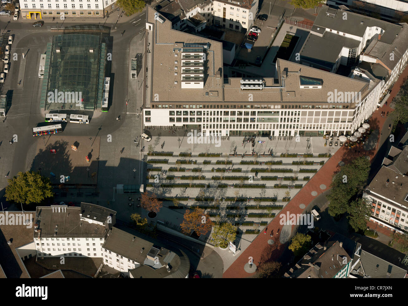 Aerial view, town redevelopment, Heinrich-von-Kleist-Forum, library and adult education centre, Hamm, Ruhr Area - Stock Image