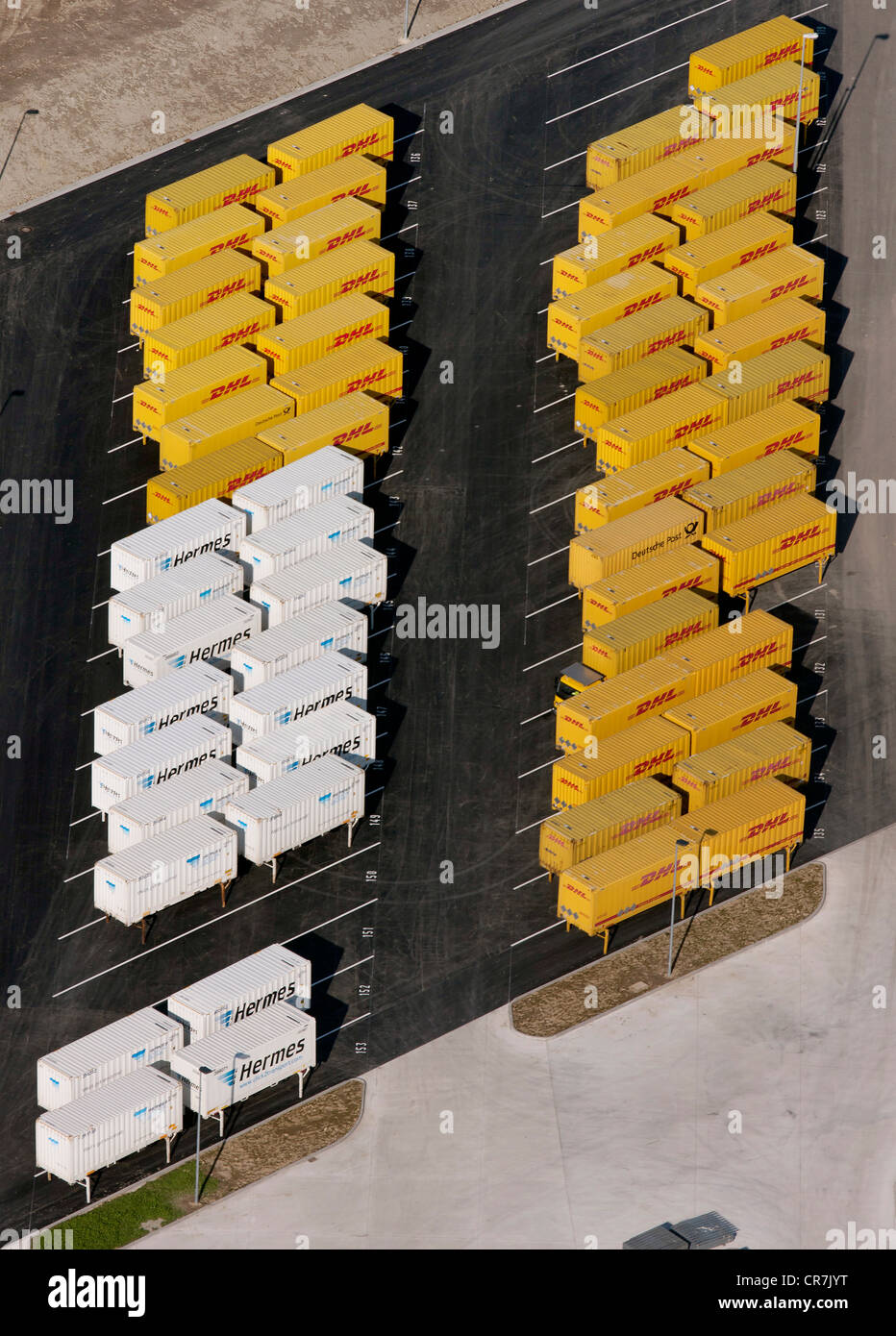 Aerial view, Metro Logistic with truck trailers in the port, Herringen, Hamm, Ruhr Area, North Rhine-Westphalia, - Stock Image
