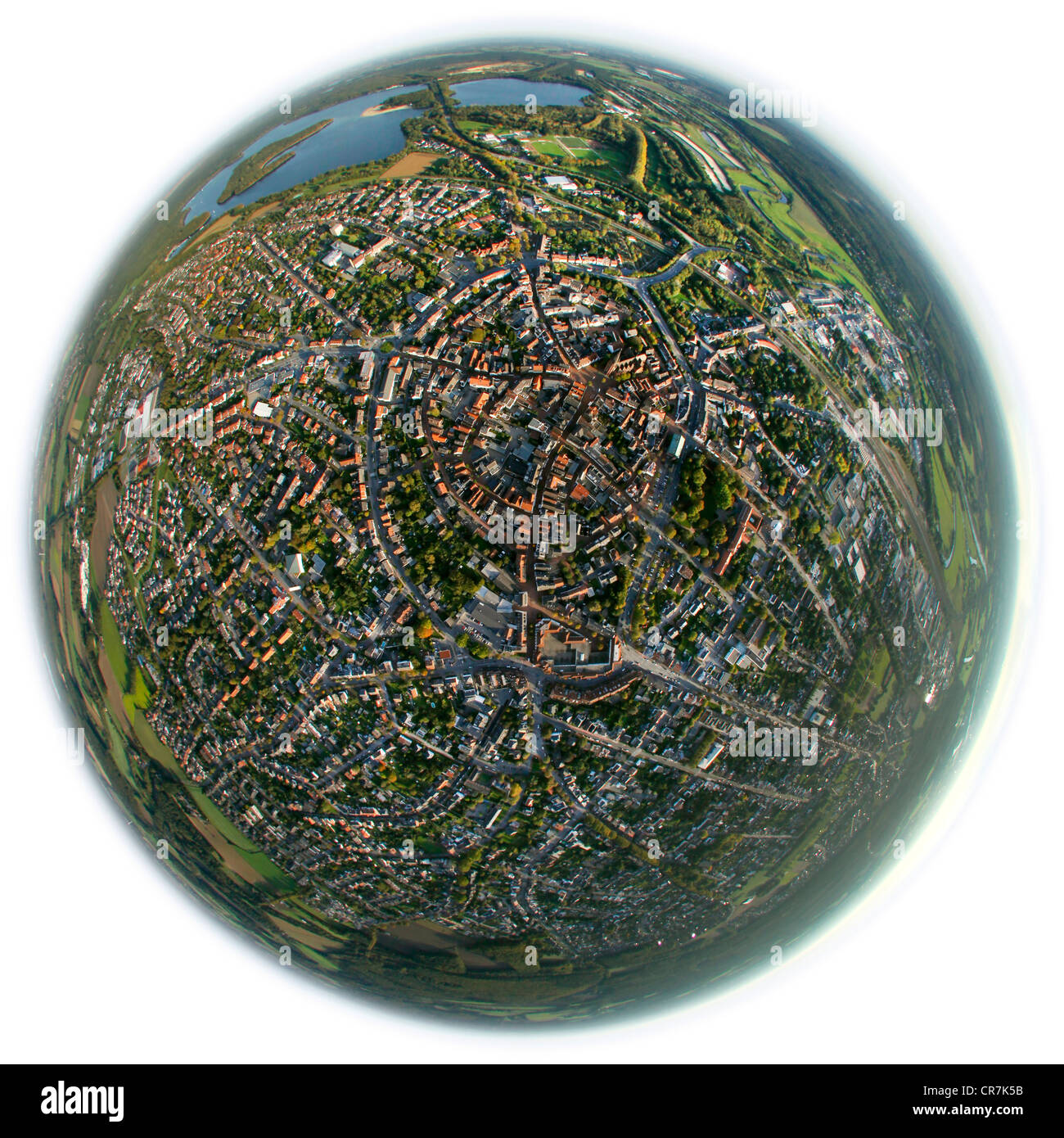 Aerial view, fisheye shot, town centre, Haltern am See, Ruhr Area, North Rhine-Westphalia, Germany, Europe - Stock Image
