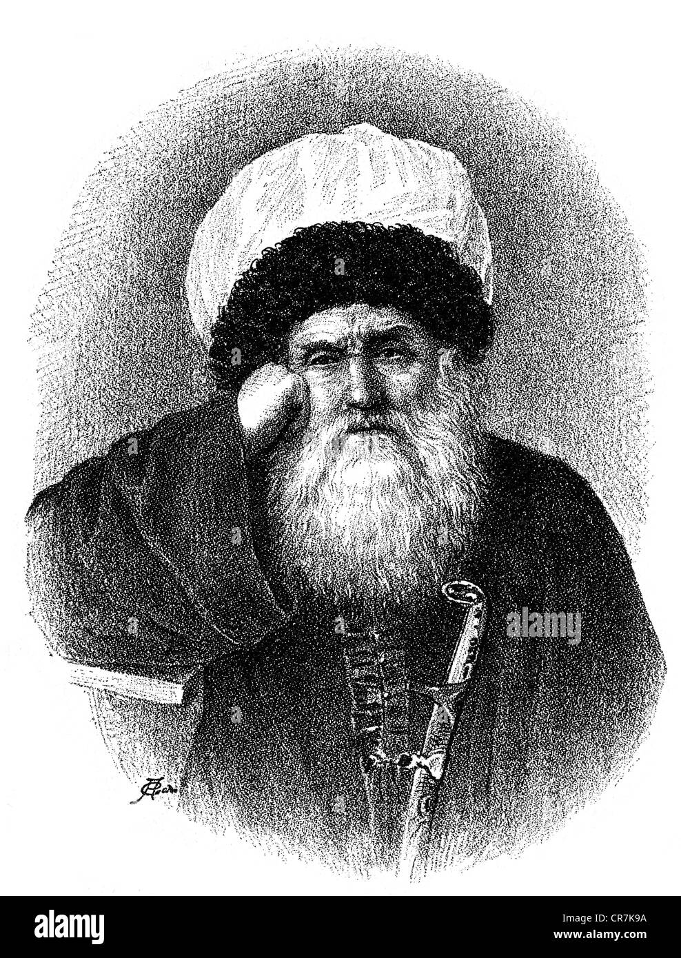 Shamil ben Muhammad, circa 1797 - March 1871, Islamic scholar, portrait, wood engraving, 19th century, Additional - Stock Image