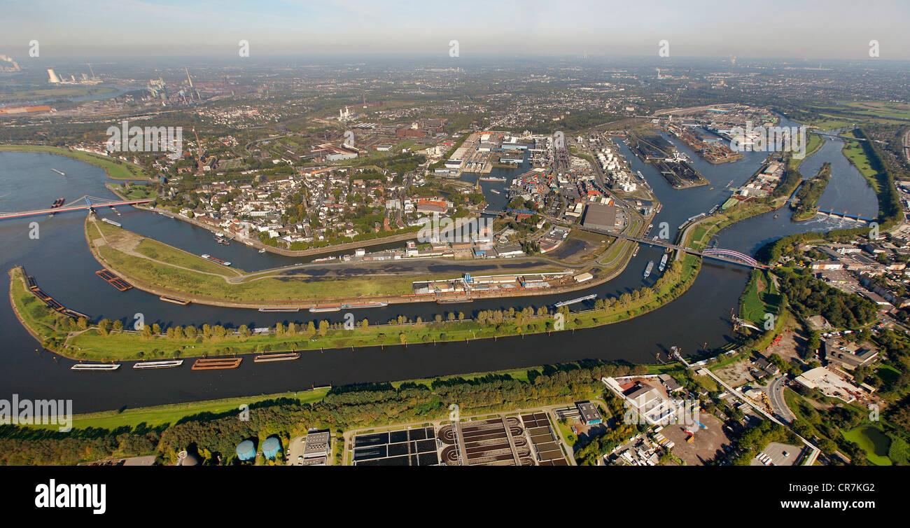 Aerial view, port of Duisburg, Duisport, container port, coal dock, Ruhr river, Rhine, Ruhrort quarter, Duisburg, - Stock Image