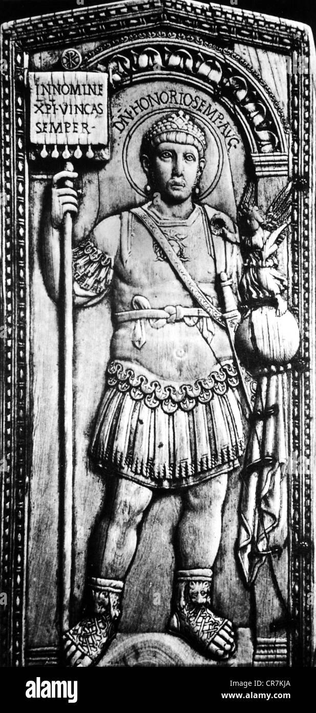 Honorius (Flavius Honorius), 9.9.384 - 15.8.423, Western Roman, emperor,  full length, as general, dyptich of Anicius Petronius P Stock Photo - Alamy