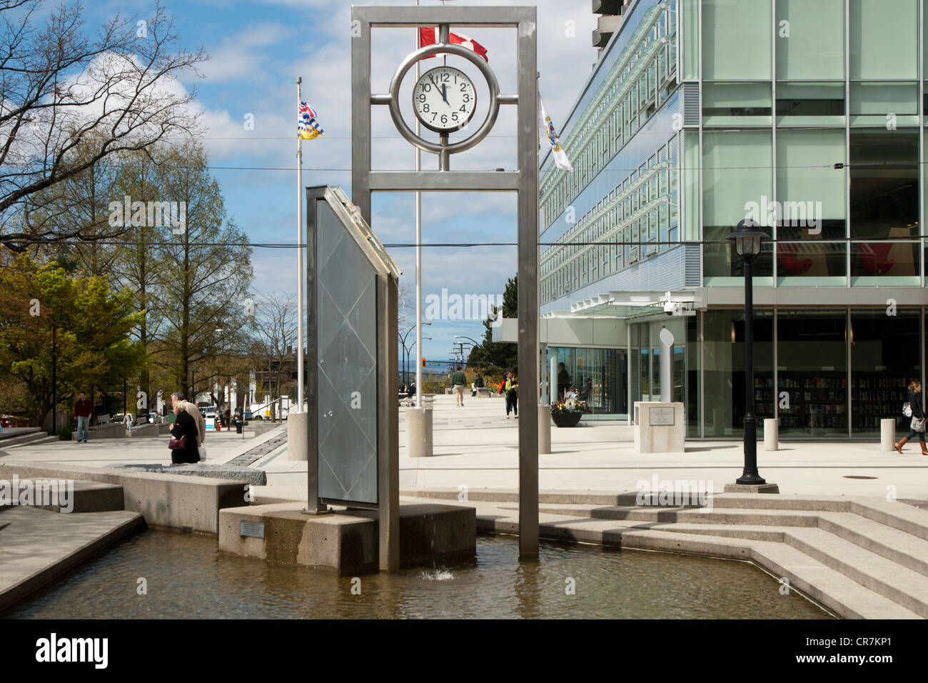 Library Square in North Vancouver, British Columbia, a public space with fountains, library, gardens - Stock Image