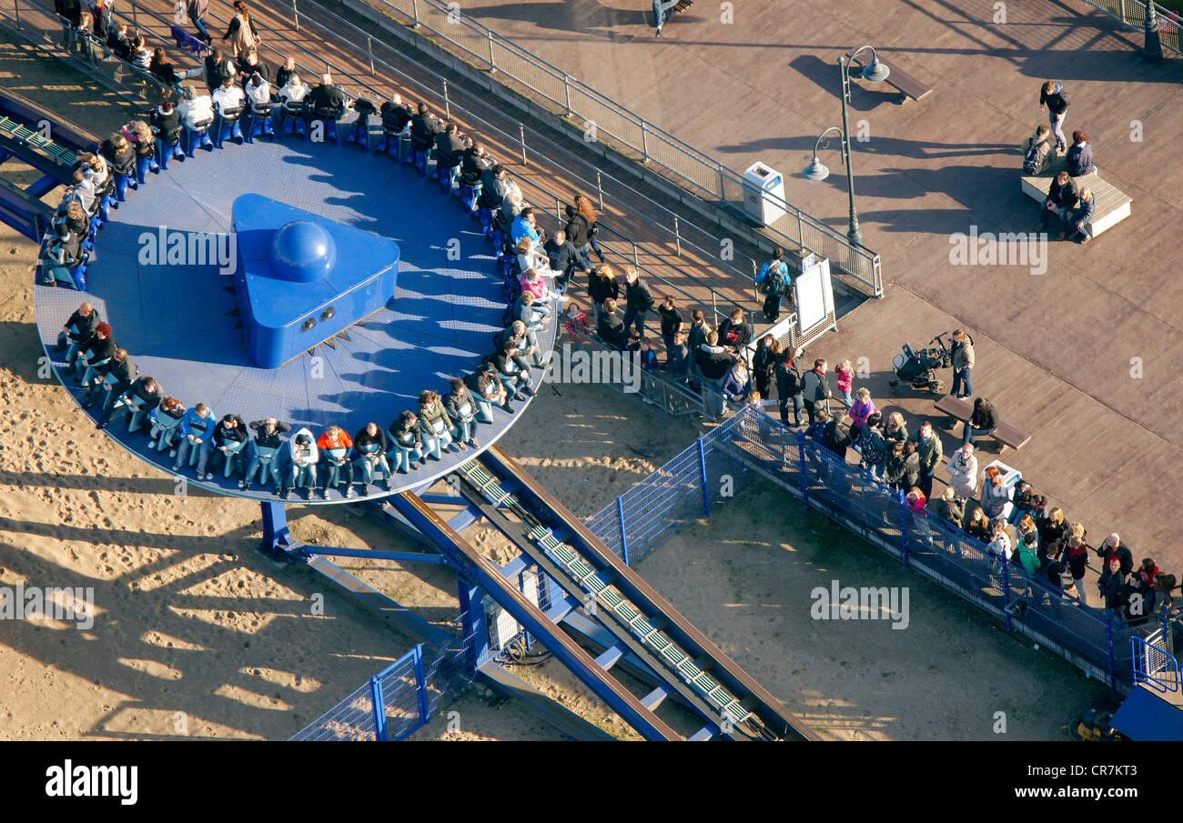 Aerial view, Crazy Surfer, Movie Park Germany, amusement park, Bottrop Kirchhellen, Ruhr Area, North Rhine-Westphalia - Stock Image
