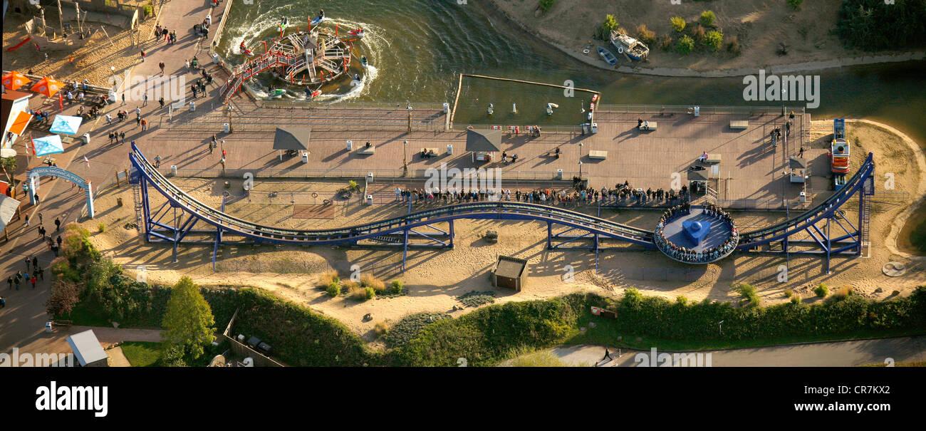 Aerial view, Pier Jet Ski Patrol, Crazy Surfer, Movie Park Germany, amusement park, Bottrop Kirchhellen, Ruhr Area - Stock Image