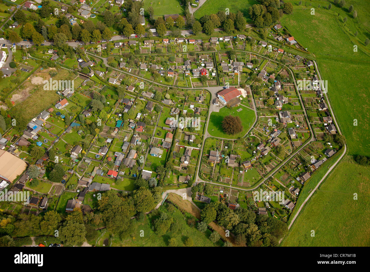 Aerial View Small Allotment Garden Colony Im Reiche Des Wassers