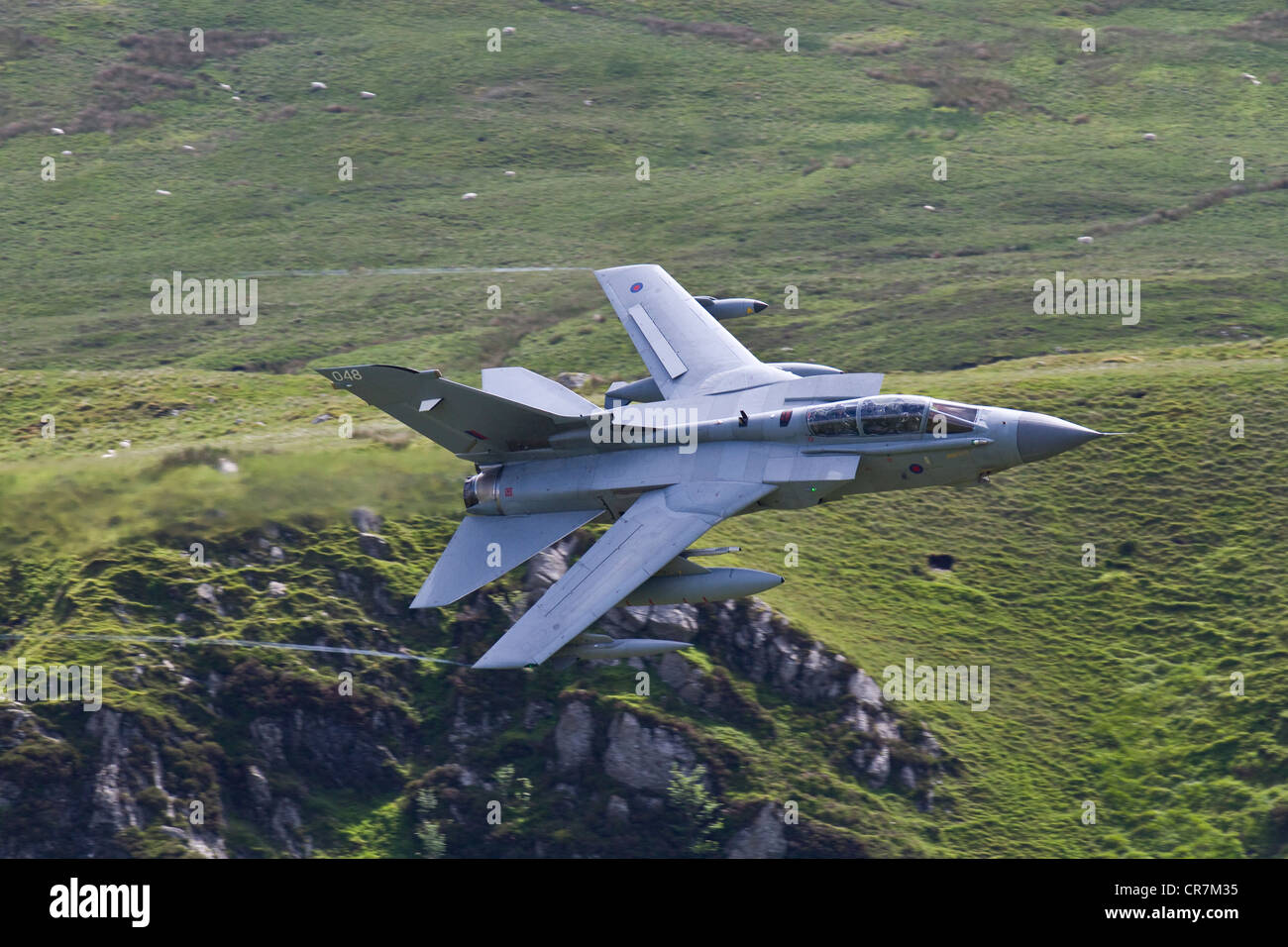 A RAF Tornado flying through the Mach Loop in Wales. Taken from Cad West. Stock Photo