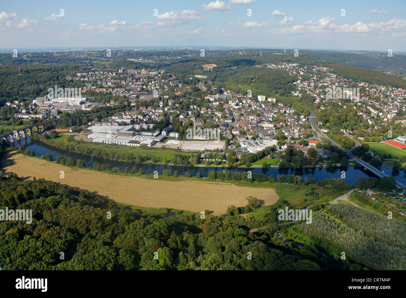 Aerial view, open space beside the Ruhr River, Herdecke, Ruhr Area, North Rhine-Westphalia, Germany, Europe - Stock Image