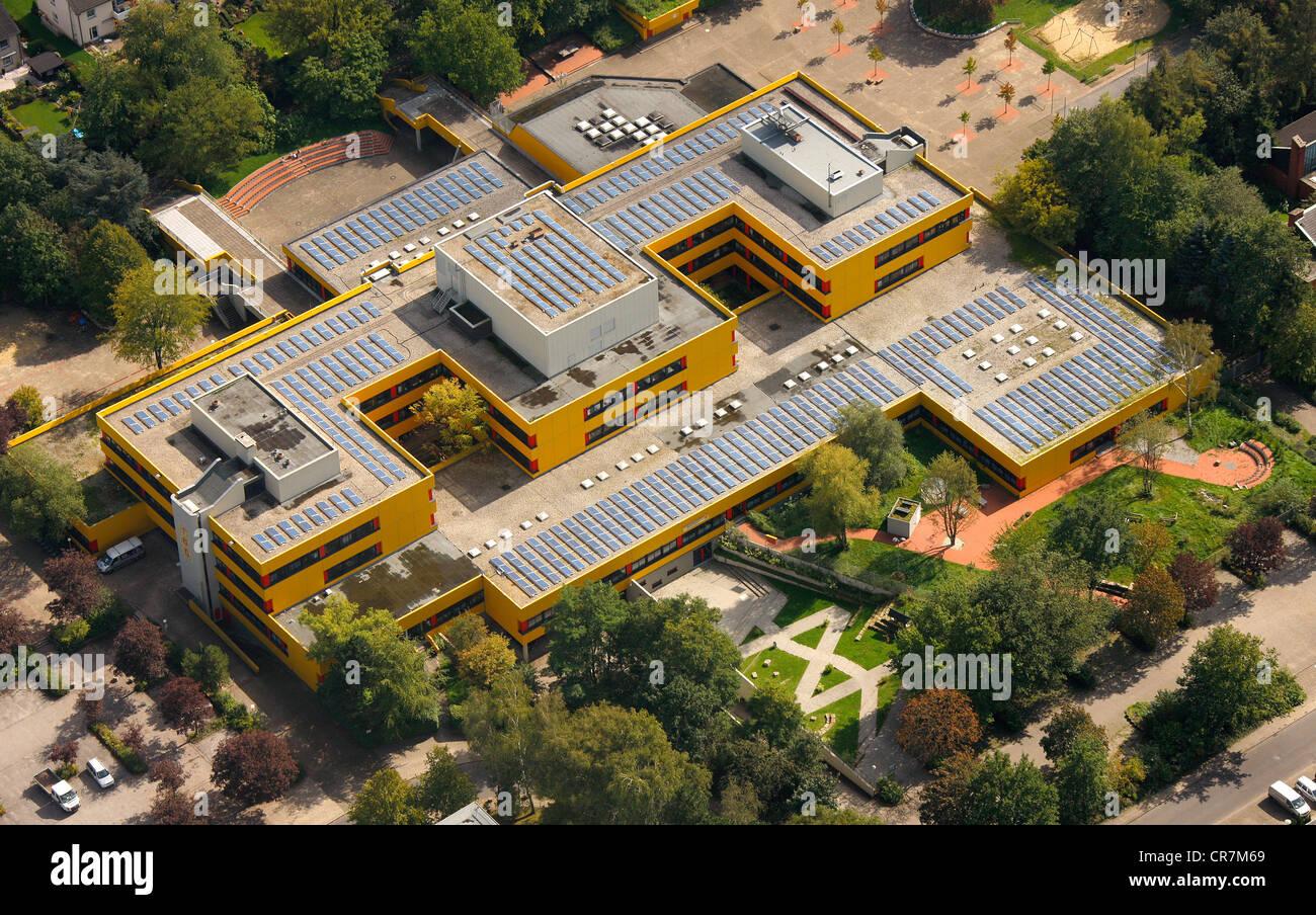 Aerial view, solar panels on roofs, Ingeborg-Drewitz-Gesamtschule, comprehensive school, Gladbeck, Ruhr Area Stock Photo