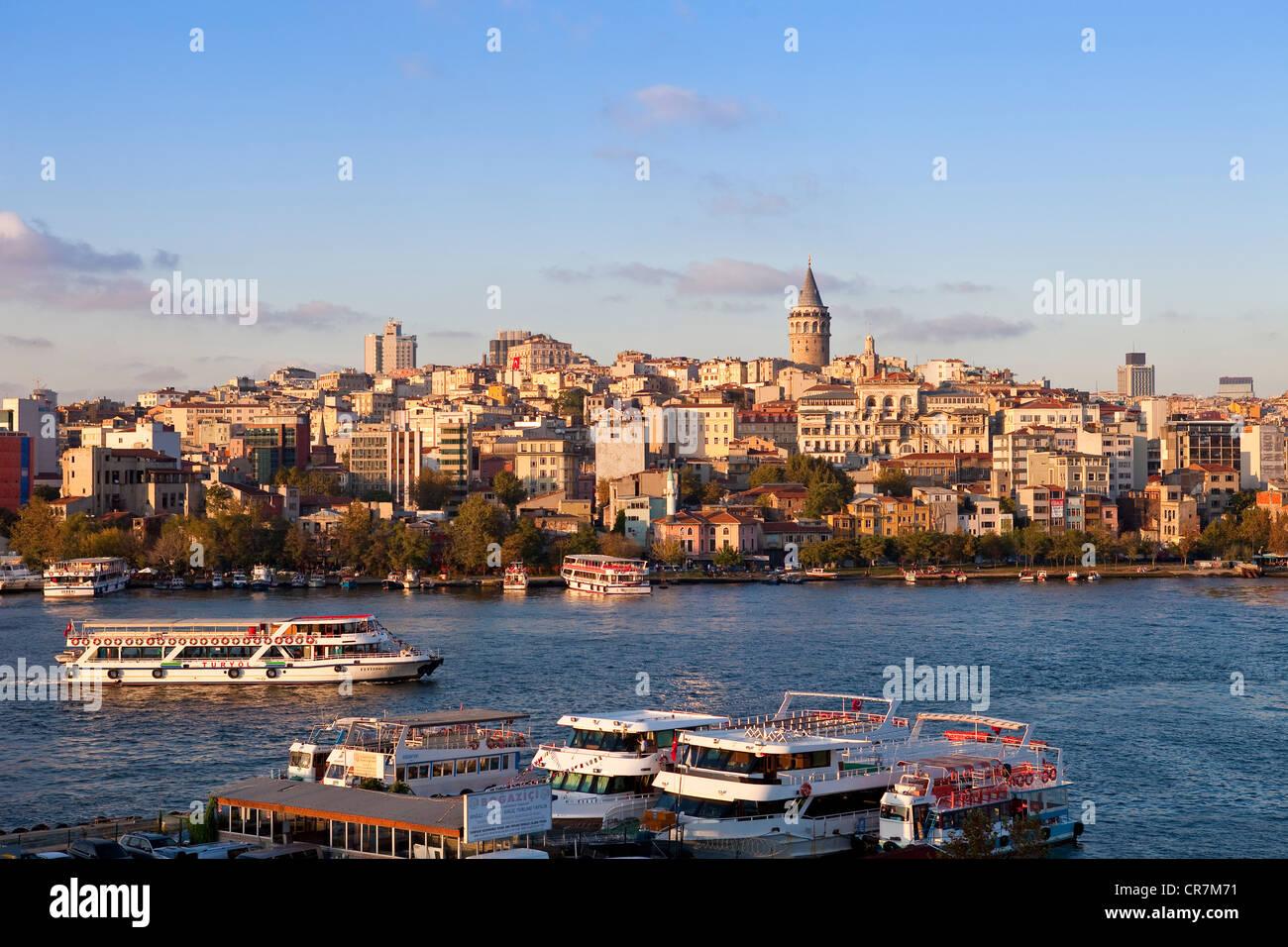 Turkey, Istanbul, Golden Horn Strait, ferry linking Beyoglu District, Galata Tower in the background Stock Photo
