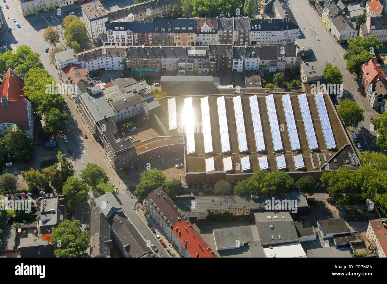 Aerial View Bogestra Tram Depot With Solar Panels On Roof Stock