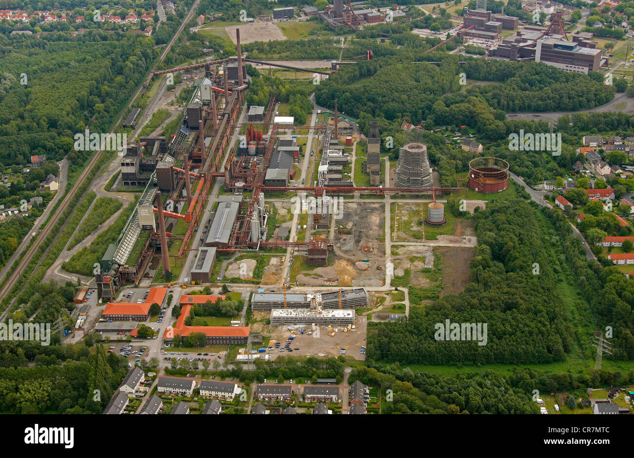 Aerial view, Zollverein Kokerei coking plant, closed 1993, Essen, Ruhr area, North Rhine-Westphalia, Germany, Europe - Stock Image