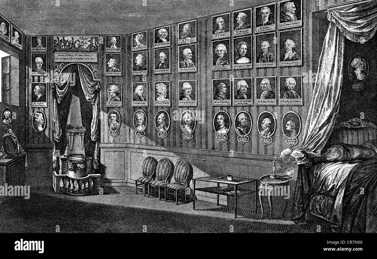 Voltaire, (Francois Arouet), 21.11.1694 - 30.5.1778, French philosopher, his favourite room at castle Ferney on - Stock Image