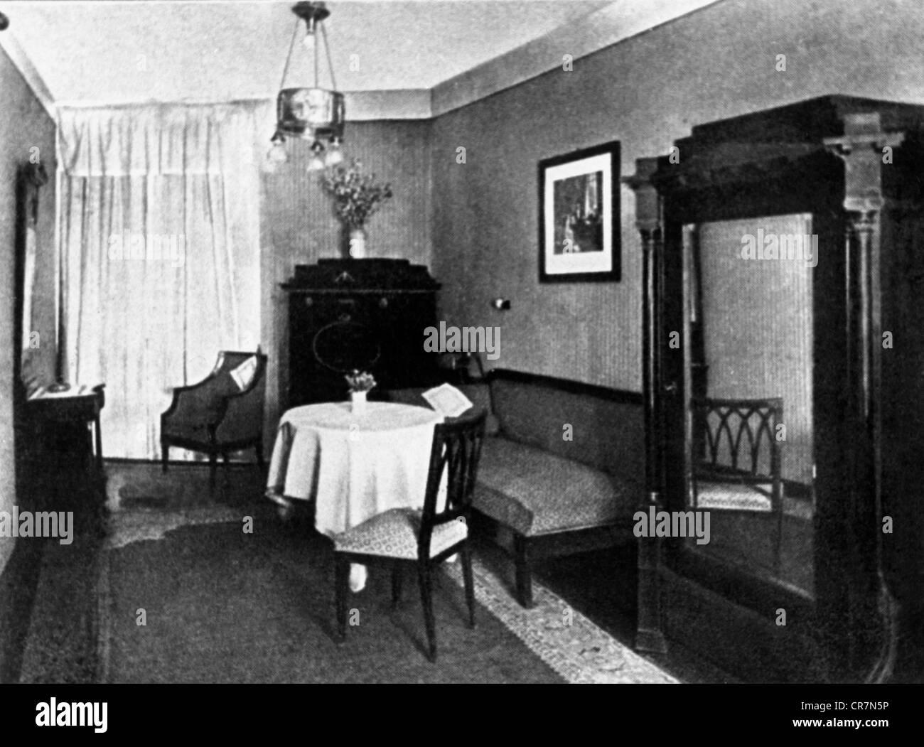 Wagner, Richard, 22.5.1813 - 13.2.1883, German composer, Richard, Wagner room, Hotel Erbprinz, Weimar, 19th century, - Stock Image