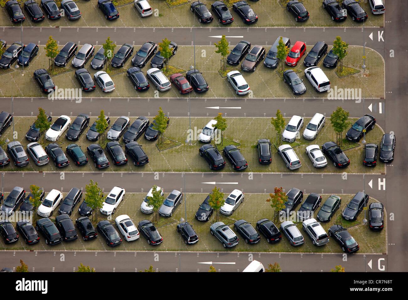 Aerial view, VIP parking, Westfalenstadion football stadium, Signal Iduna Park, Dortmund, Ruhr area, North Rhine - Stock Image