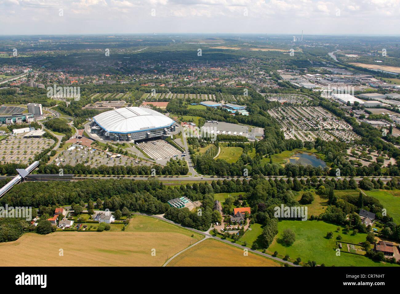 Aerial view, Schalke Arena, S04, football stadium, Gelsenkirchen, Ruhr Area, North Rhine-Westphalia, Germany, Europe - Stock Image