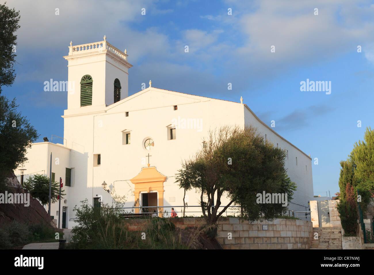 Spain, Balearic Islands, Menorca, Es Mercadal Historic Village, San Martin Church - Stock Image