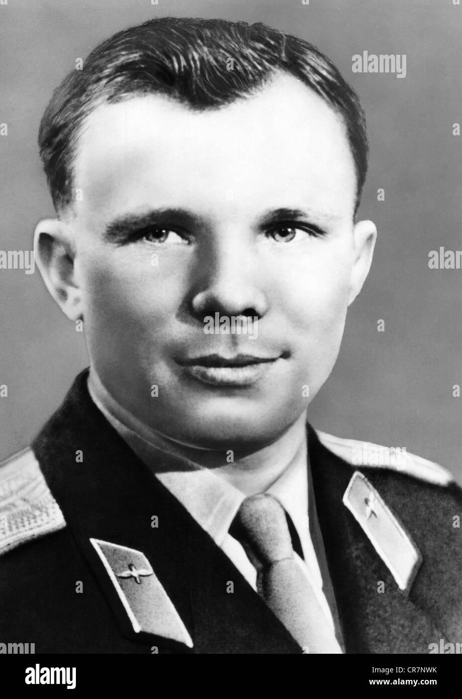 Gagarin, Yuri, 9.3.1934 - 27.3.1968, Soviet spaceman (cosmonaut), portrait, postcard, East-Germany, circa 1971, - Stock Image