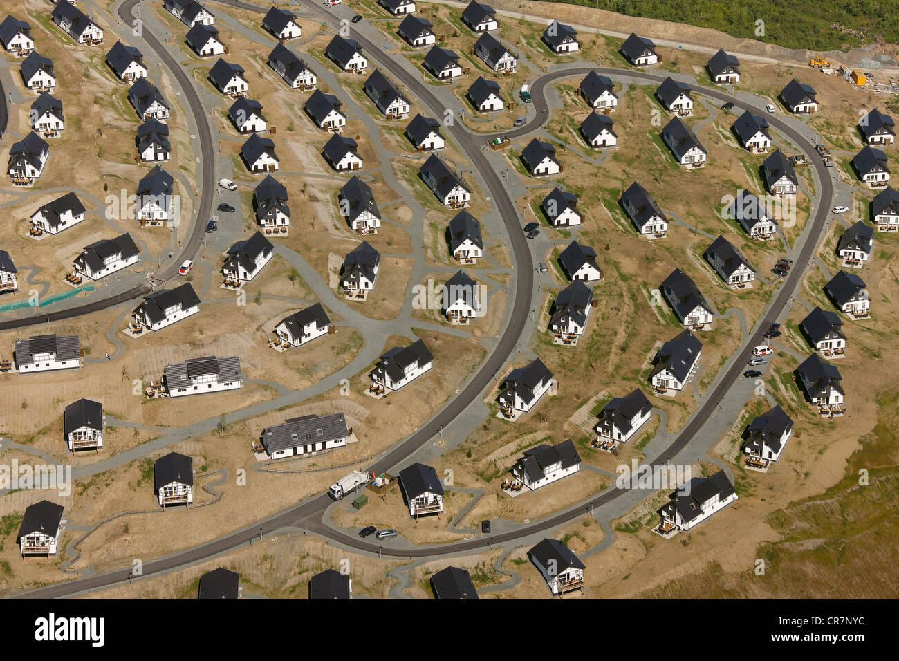 Aerial view, Suerenberg building site, holiday accommodation, recreation area, Winterberg, Sauerland, North Rhine - Stock Image