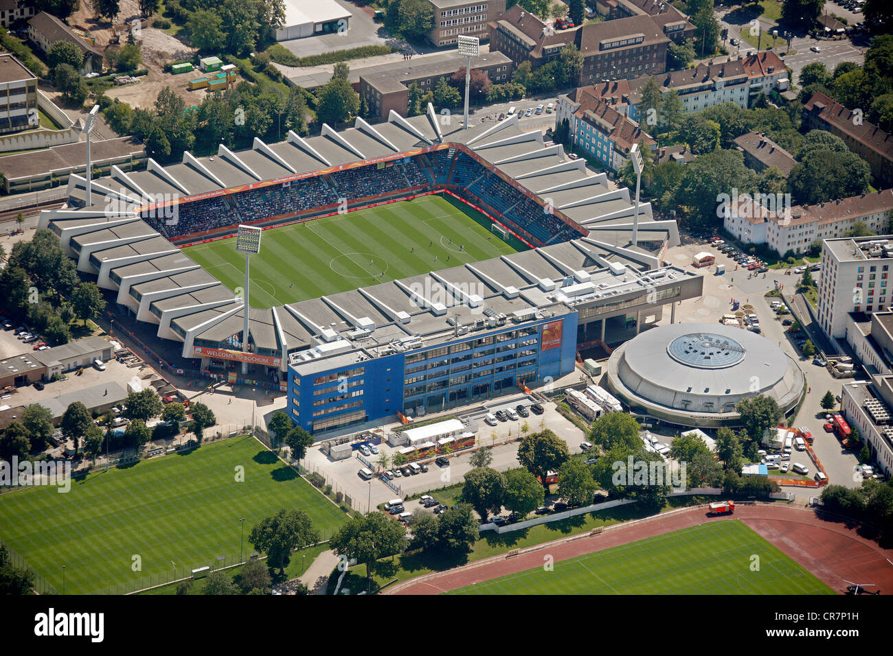 Aerial view, VfL-Stadion stadium, match Japan - New Zealand, FIFA Women's World Cup, Bochum, Ruhrgebiet region - Stock Image