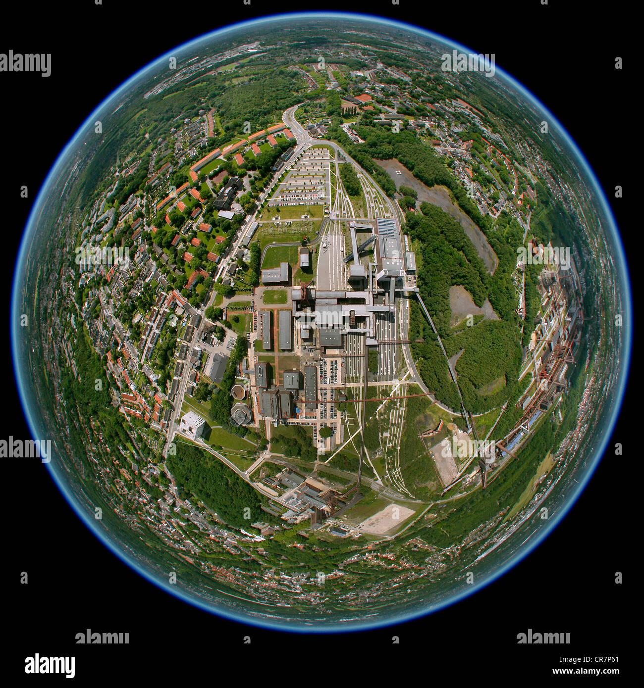 Aerial view, fisheye shot, Zeche Zollverein former mine, Kokerei Zollverein cokery, UNESCO World Heritage Site, - Stock Image