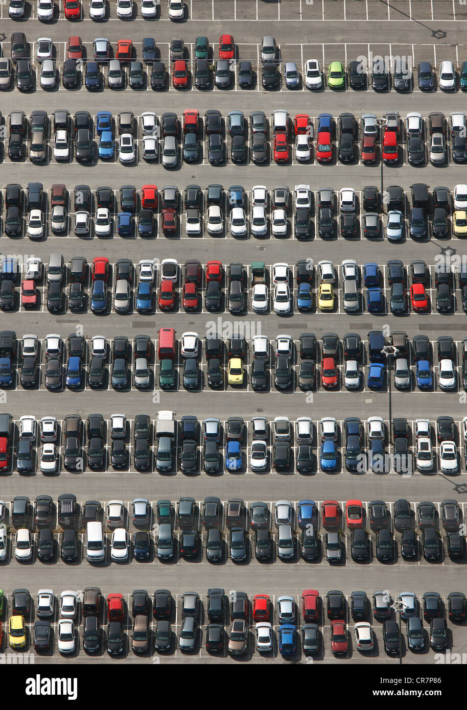Aerial view, parking site for the VW factory workers, Volkswagen plant, Autostadt, Wolfsburg, Lower Saxony, Germany, - Stock Image