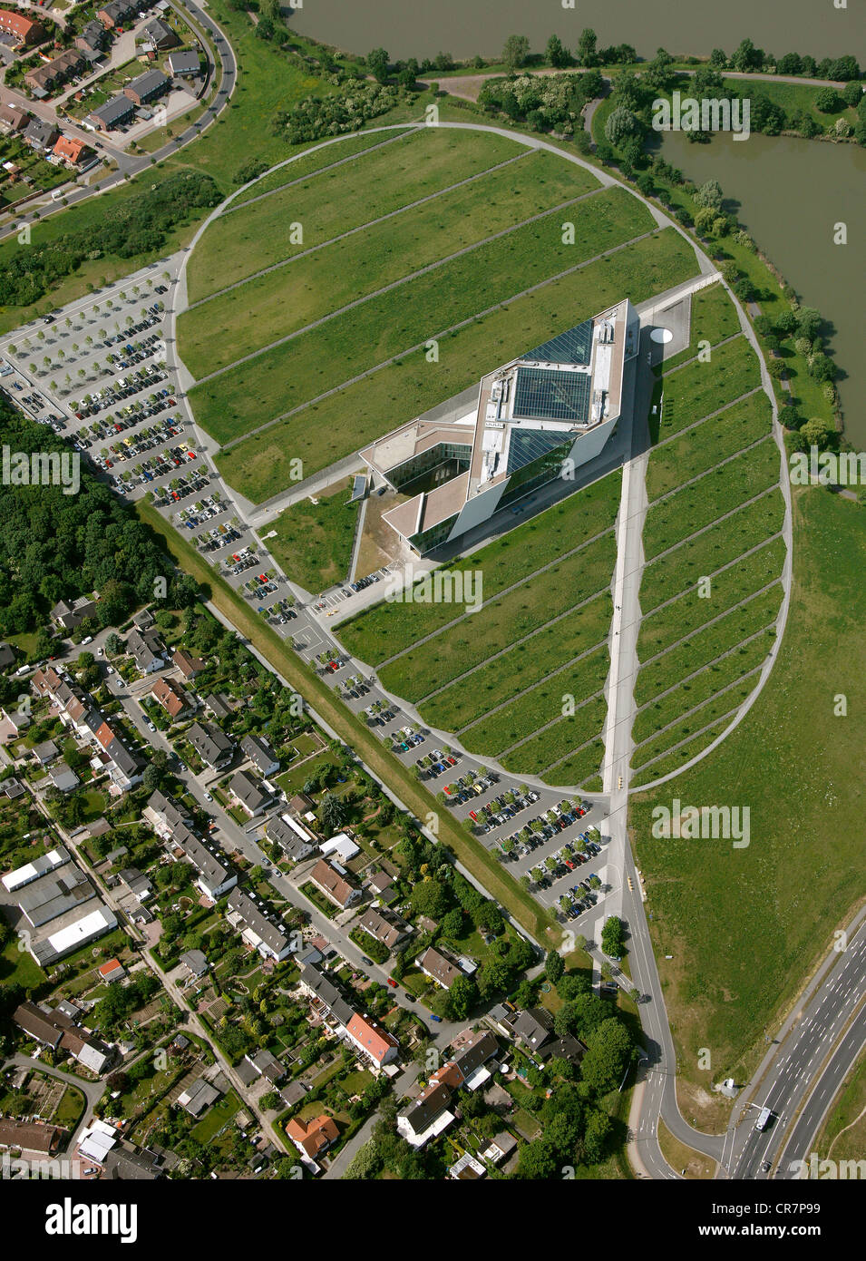 Aerial view, VW AutoUni institute, MobileLifeCampus, Volkswagen plant, VW factory, Autostadt visitor attraction, - Stock Image
