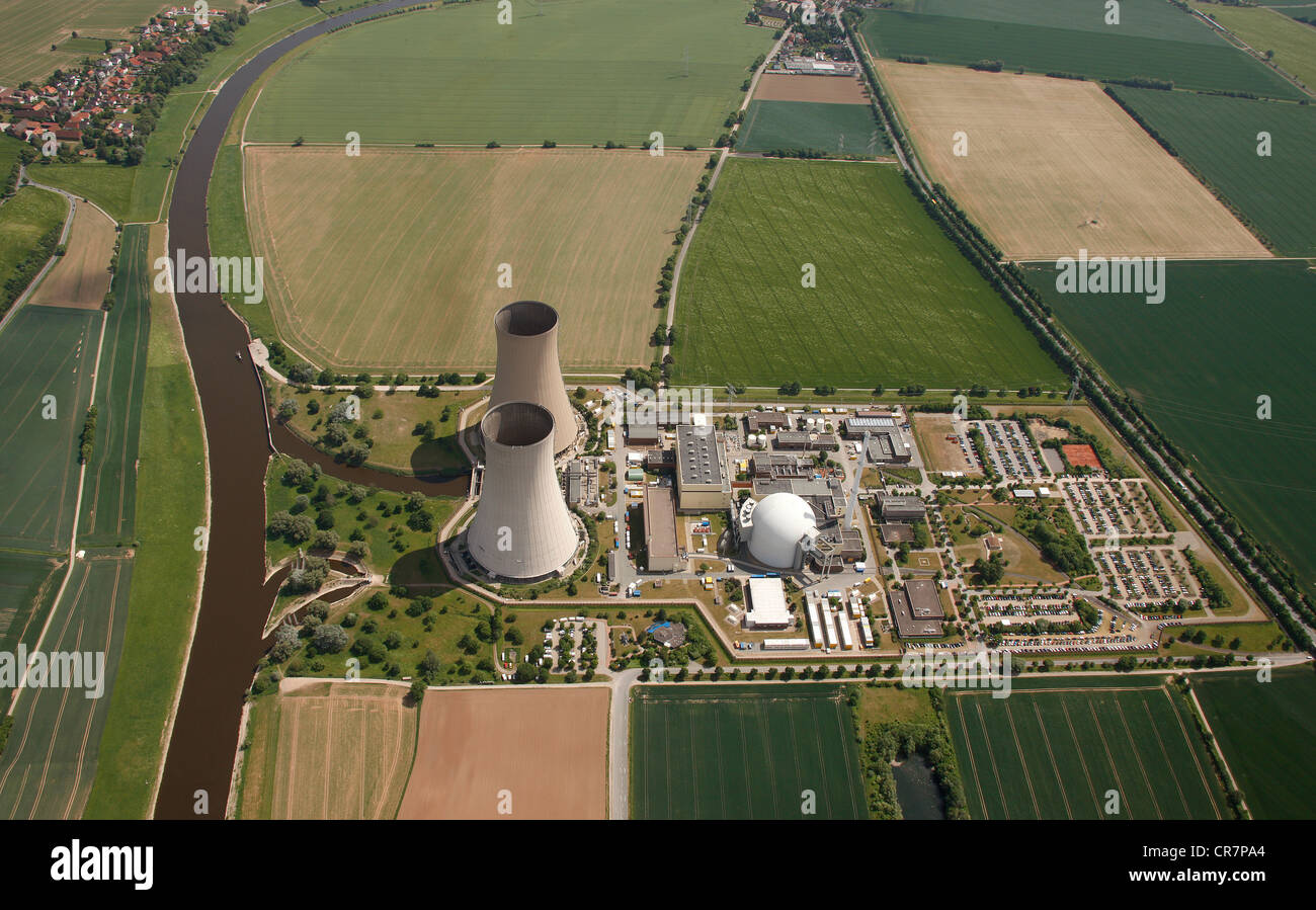 Aerial view, Grohnde Nuclear Power Plant, Hameln-Pyrmont, Lower Saxony, Germany, Europe - Stock Image