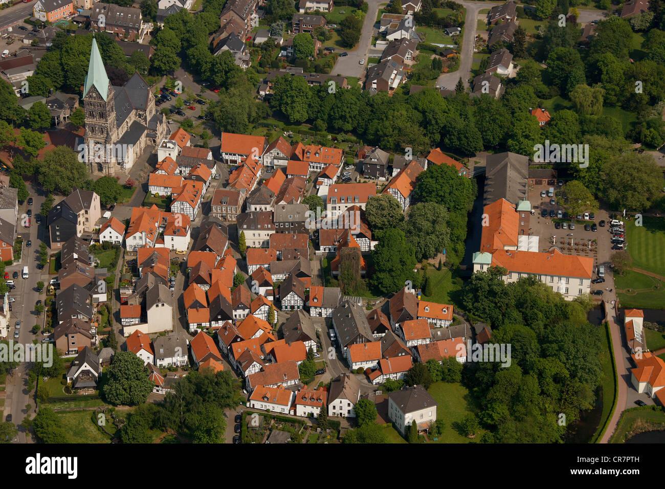 Aerial view, Altes Dorf quarter, Westerholt, Herten, Ruhrgebiet region, North Rhine-Westphalia, Germany, Europe - Stock Image
