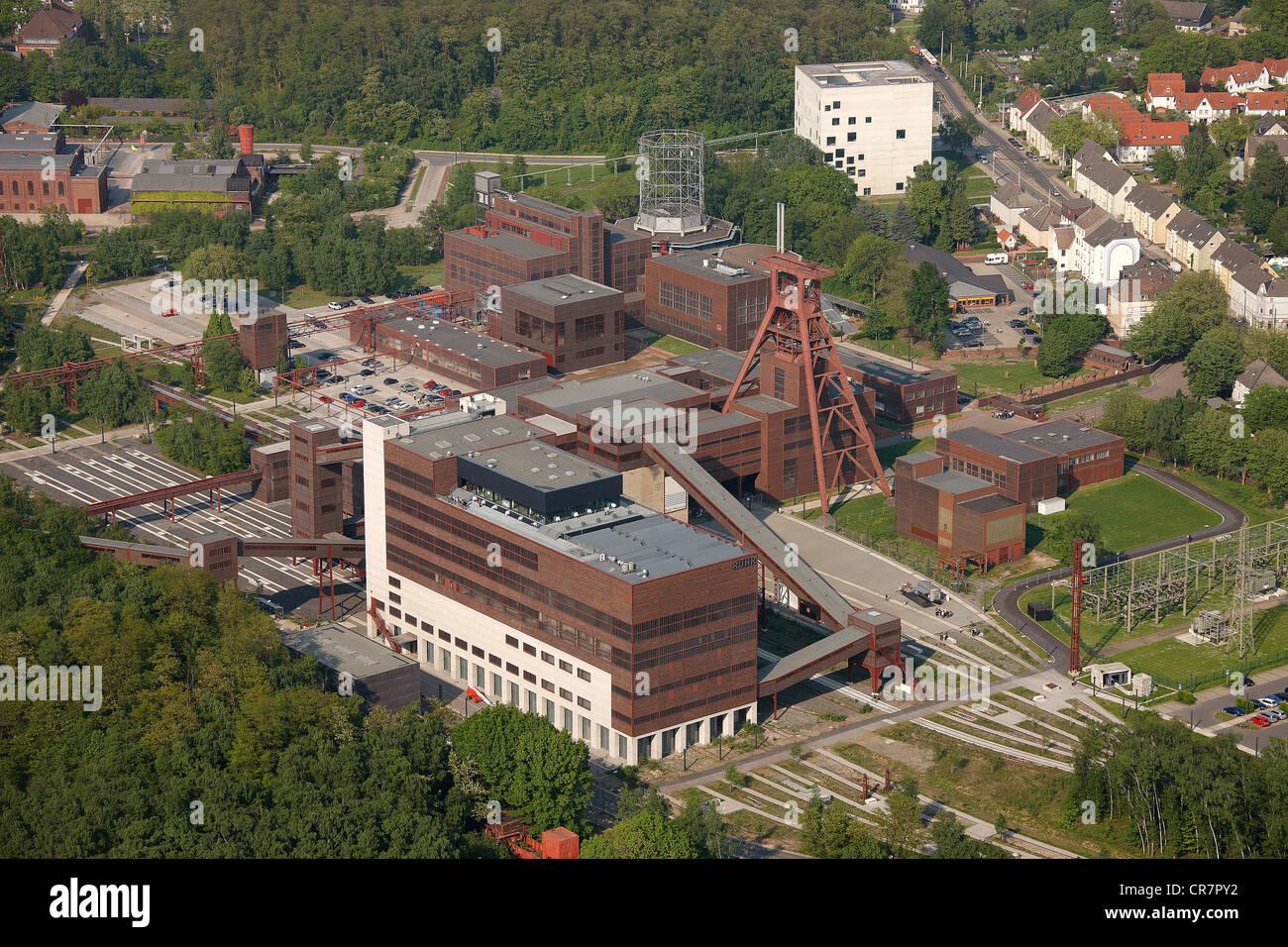 Aerial view, former mine Zeche Zollverein, UNESCO World Heritage Site, Museum, Essen, Ruhrgebiet region, North Rhine - Stock Image
