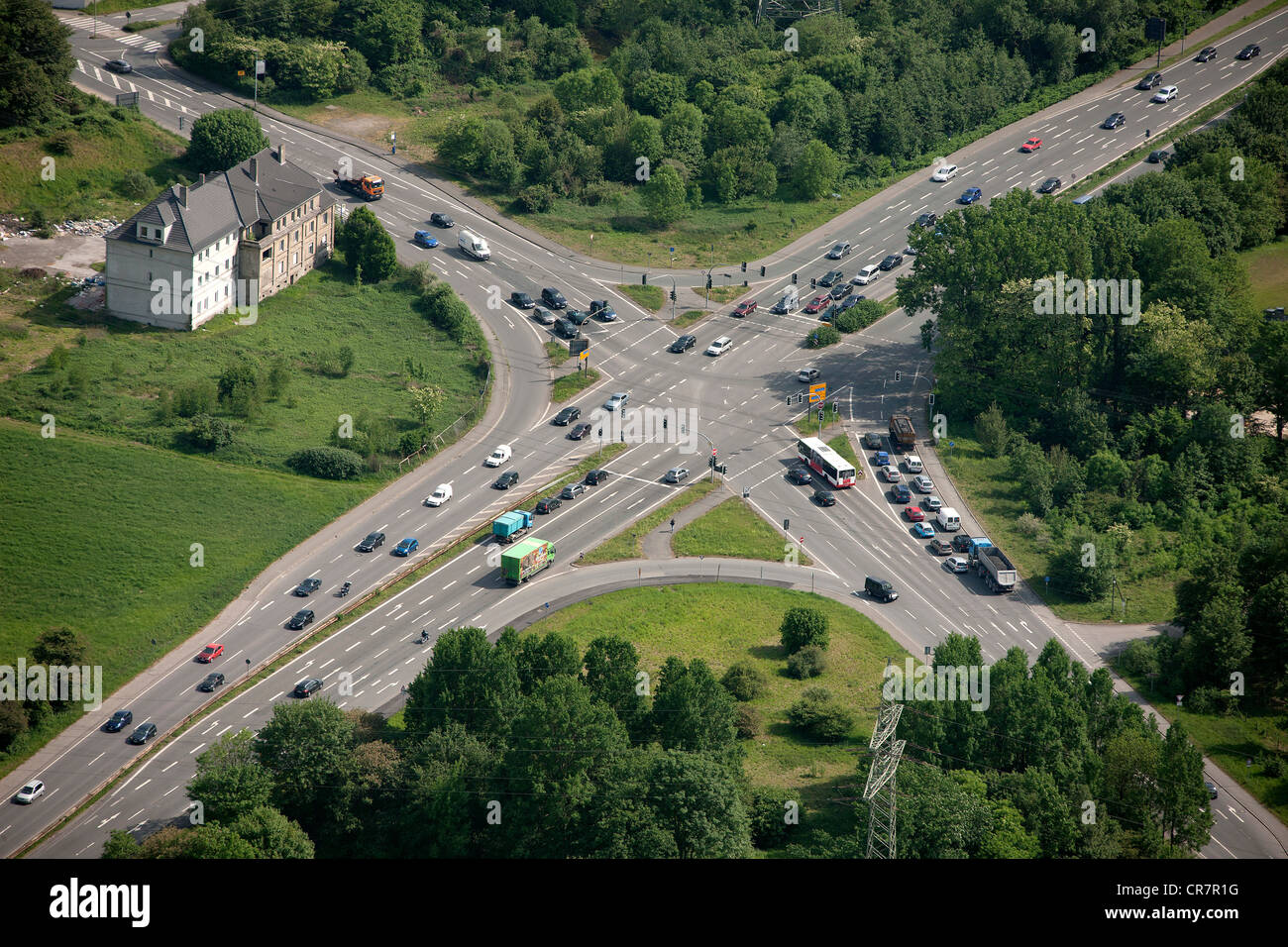 Aerial view, crossroads, Prosperstrasse street, Arensbergstrasse street, B224 federal highway, Bottrop-Boy, Ruhr - Stock Image