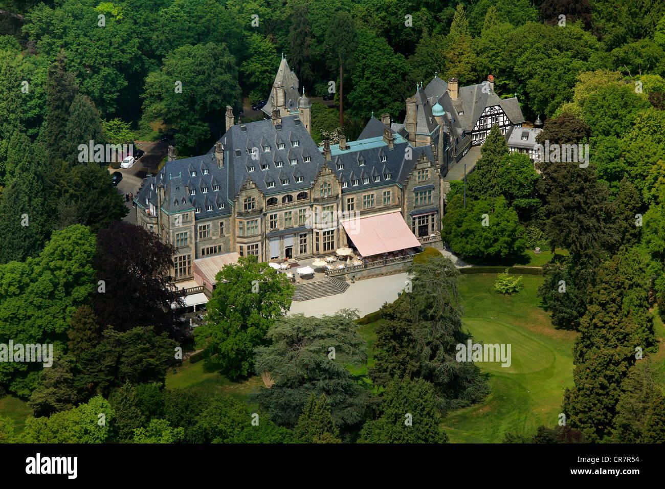 Aerial view, Schlosshotel Kronberg castle hotel Kronberg, golf and country club Kronberg, Kronberg im Taunus, Hesse Stock Photo