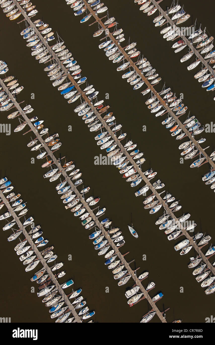 Aerial view, rows of boats, marina, sailing harbour, Hamburger Yachthafen-Gemeinschaft e.V. association, Wedel - Stock Image
