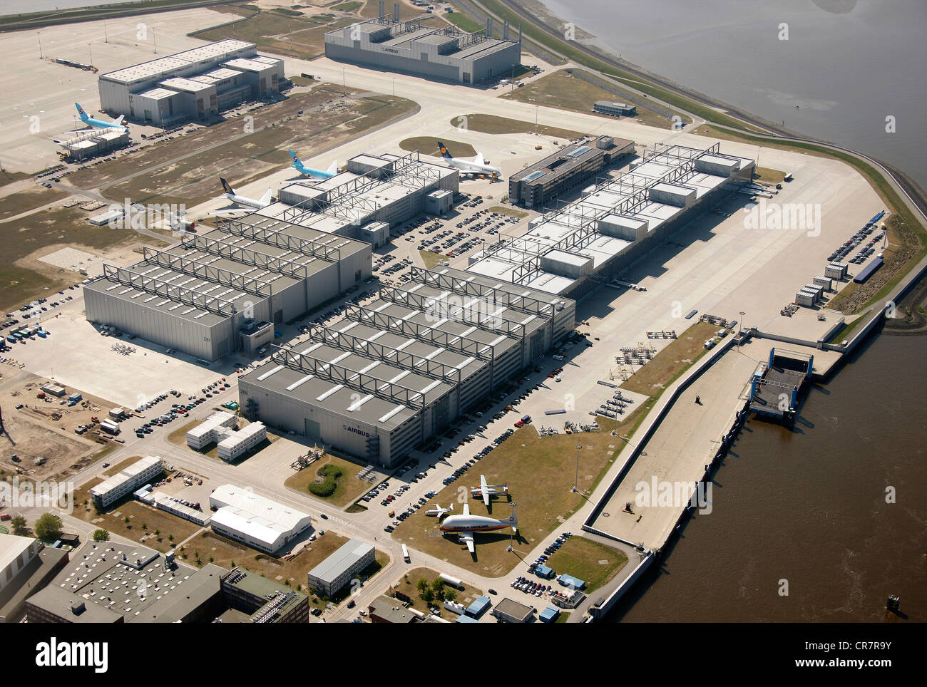 Aerial photo, premises of the aircraft manufacturer Airbus, Hamburg, Germany, Europe - Stock Image