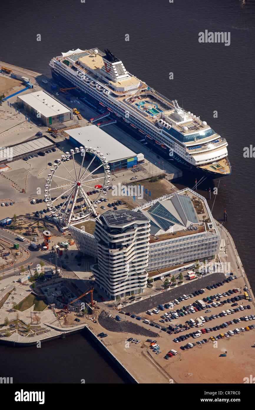 Aerial view, Mein Schiff cruise ship, Cruise Terminal, Chicagokai, Hafencity harbour district, Hamburg, Germany, - Stock Image